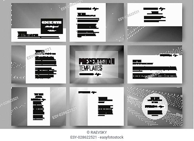 Set of 9 vector templates for presentation slides. Abstract lines background, simple abstract monochrome texture
