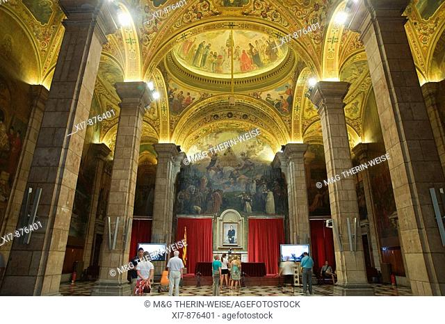 Palau de la Generalitat, Saint George or Sant Jordi Hall, Ceiling paintings, Plaza Sant Jaume, Gothic District, Barcelona, Catalonia, Spain