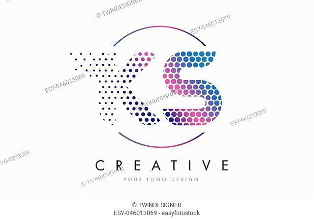 KS K S Pink Magenta Dotted Bubble Letter Logo Design. Dots Lettering Vector Illustration