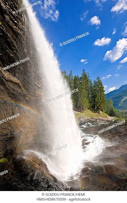 France, Haute Savoie, Giffre valley, Sixt Fer a Cheval, labelled Les Plus Beaux Villages de France The Most Beautiful Villages of France, the Rouget waterfall