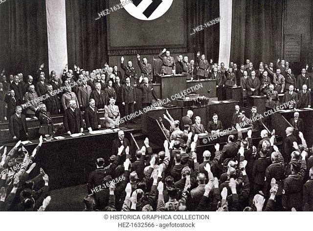Chancellor Adolf Hitler making a speech before the Reichstag, Berlin, 17th May 1933. Hitler setting out his foreign policy programme