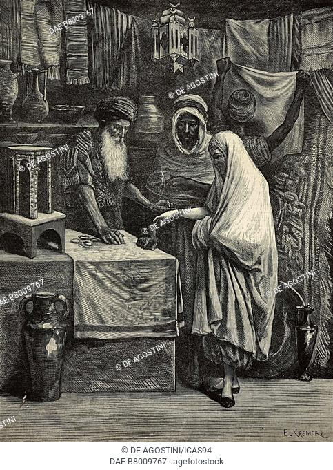 A bazaar in Algiers, Algeria, engraving from The Illustrated London News, No 2205, August 20, 1881