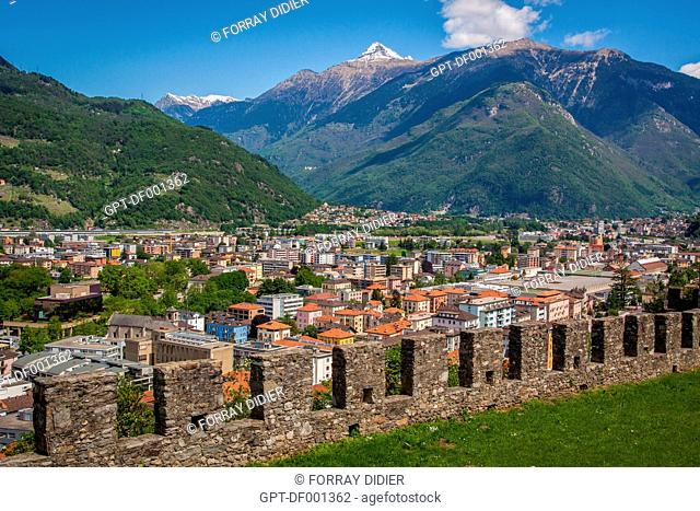 VIEW OF THE CITY OF BELLINZONA AND THE MOUNTAINS FROM THE RAMPARTS OF MONTEBELLO CASTLE, LISTED AS A WORLD HERITAGE SITE BY UNESCO, BELLINZONA, CANTON OF TICINO