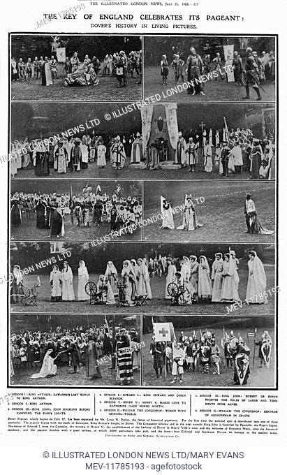 The Key of England (Dover Castle) celebrates its pageant: Dover's history in living pictures, 1908. 1 - Gawayne's last words to King Arthur; 2 - King Arthur; 3...