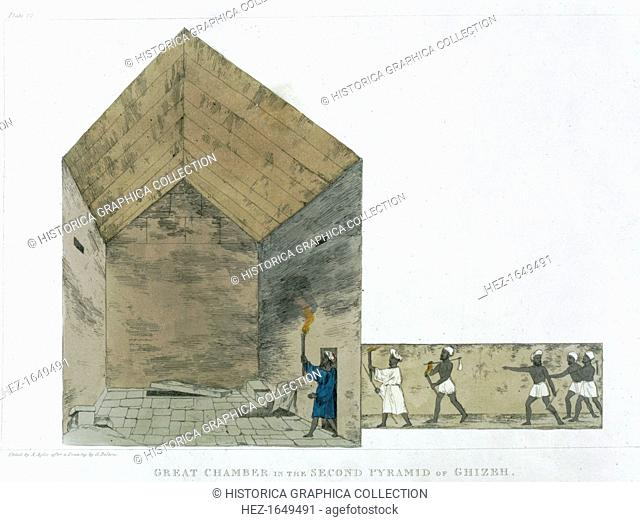 'The Great Chamber in the Second pyramid of Ghizeh, discovered by Giovanni Belzoni, 1820-1822'. Plate 12 from Plates Illustrative of the Researches in Egypt and...