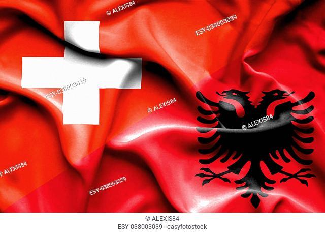 Waving flag of Albania and