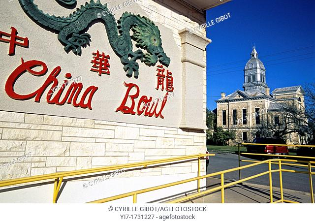 Commercial sign for a Chinese restaurant in a small, traditional American town, Texas, USA