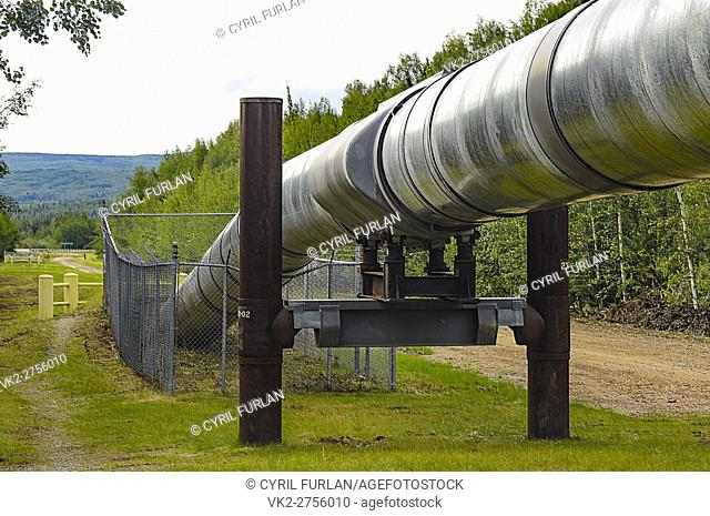 Above ground and below ground portion of the Alaskan Pipeline, pipe line designed to with stand earthquakes
