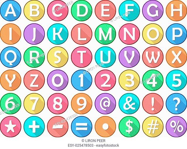 Vector illustration set of alphabet numbers symbols round flat icons