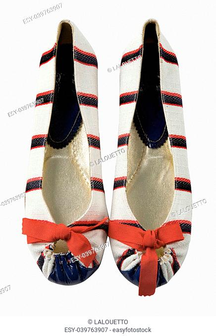 Sailor striped ballerinas pair with red bow isolated on white background