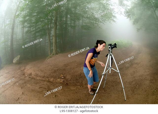 Young woman photographer taking pictures in the Beech forest in Montseny area Spain in the haze and mist in spring