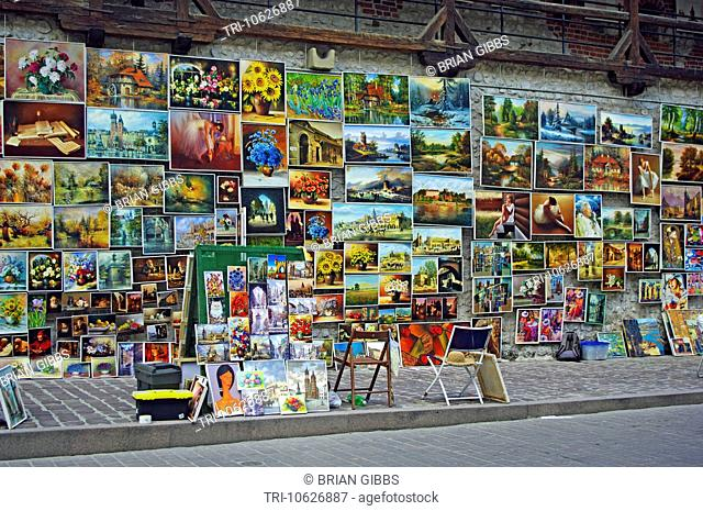 Painting Gallery on Defense Wall Close to the St Florian's Gate Cracow/Krakow Poland
