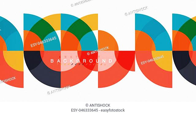 Minimal circle abstract background design, multicolored template for business or technology presentation or web brochure cover layout, wallpaper
