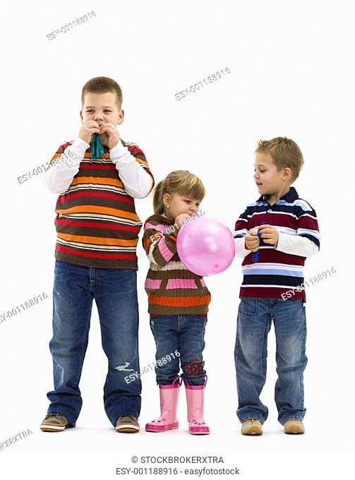 Children playing with toy balloon