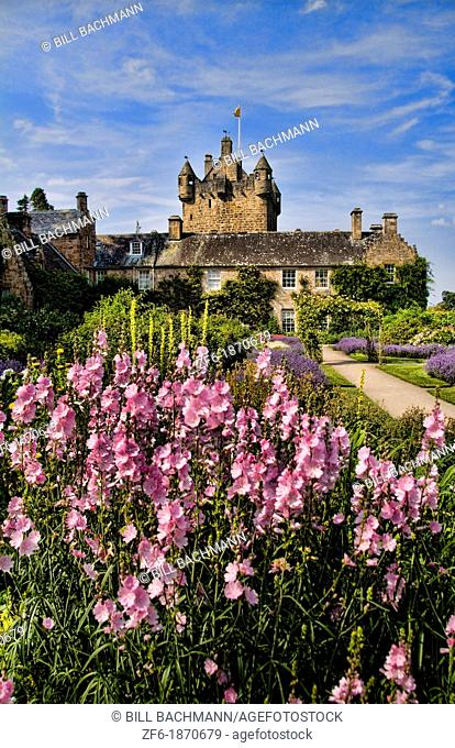 Beautiful gardens and famous castle in Scotland called the Cawdor Castle in Cawdor Scotland