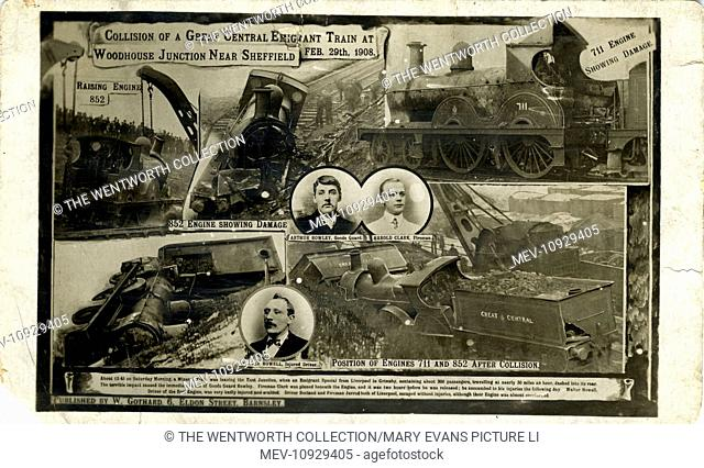 Railway Disaster, Woodhouse , Sheffield, near Orgreave, Yorkshire, England. Great Central Railway