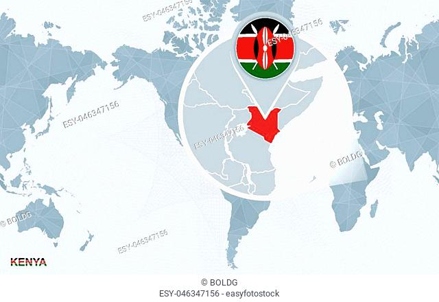 World map centered on America with magnified Kenya. Blue flag and map of Kenya. Abstract vector illustration