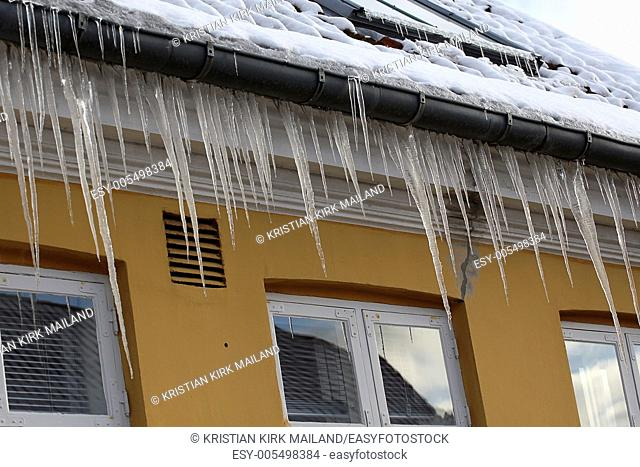 Long winter icicles. Scandinavia