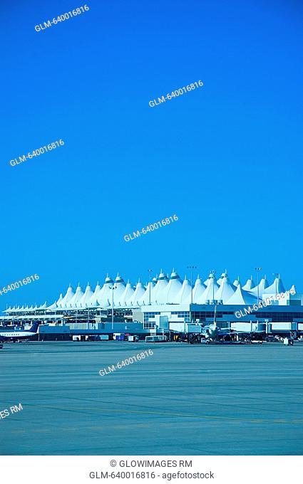 Parking lot at an airport, Denver International Airport, Denver, Colorado, USA