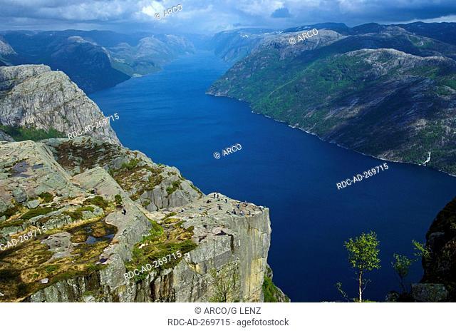 Massive cliff Preikestolen, Ryfylke, Rogaland county, Norway / Prekestolen, Preacher\'s Pulpit, Pulpit Rock, Lysefjord, point of view