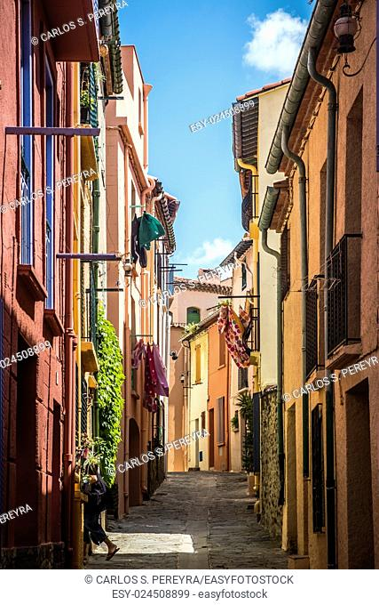 Street in the medieval town of Colliure in the south of France Europe