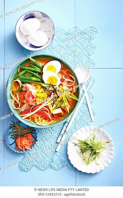Teriyaki miso soup with tofu and ramen noodles