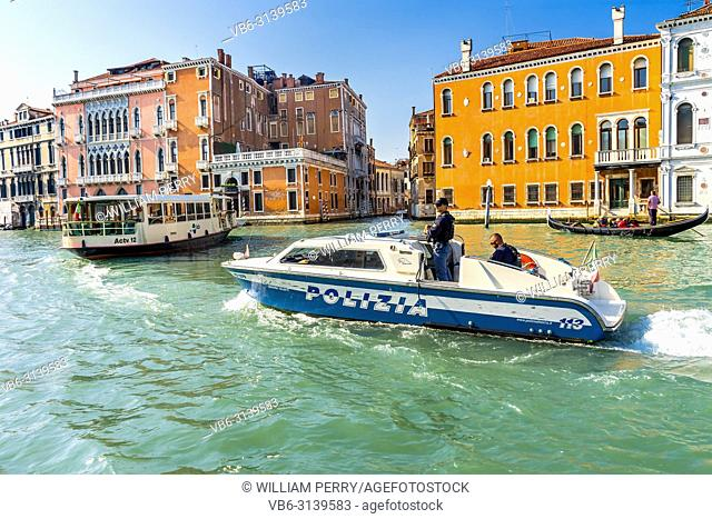 "Blue White Police Boat Gondola Ferry Colorful Grand Canal Venice Italy. Italian words on ambulance say """"ambulance"""" and """"Venice Emergency"""""
