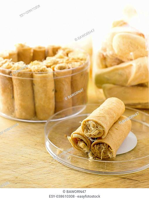 Tong Muan,rolled wafer, a traditional dessert in Thailand