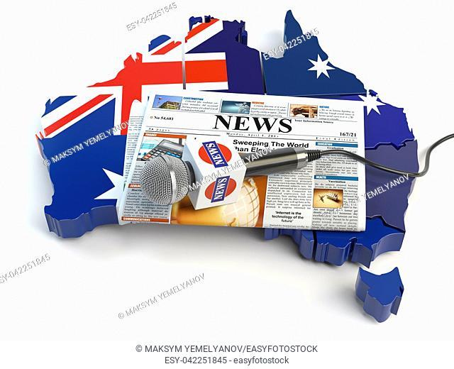 Australian news, press and journalism concept. Microphone and newspaper on the map in colors of the flag of Australia. 3d illustration