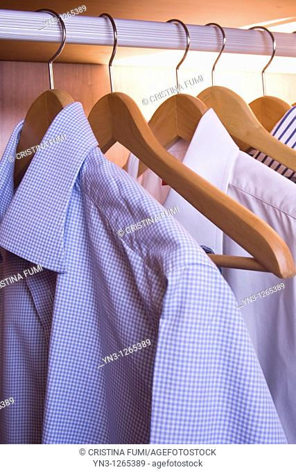Man's shirts in the closet