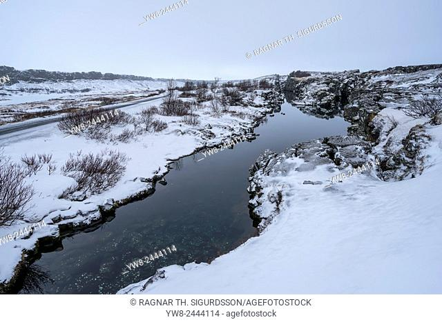 Flosagja fissure in the winter, Thingvellir National Park, Iceland