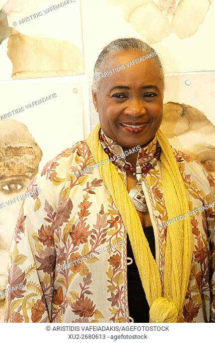African-American operatic soprano BARBARA HENDRICKS and Honorary Ambassador for Life by the UNHCR visits painting exhibition with subject the refugee crisis