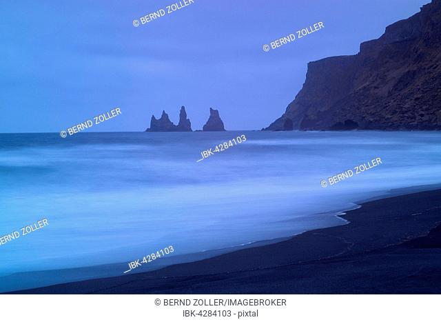 Reynisdrangar Pinnacles, black lava beach, Vik, Iceland