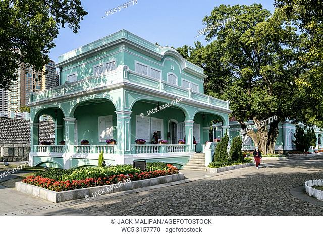 old portuguese colonial mansions tourist attraction in taipa area of macao macau china