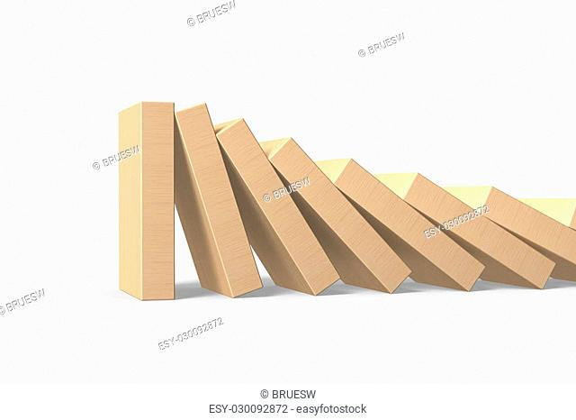 Wood dominoes falling with last piece standing, isolated on white background, 3D illustration