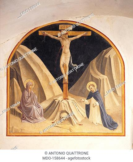 The Crucifixion with the Virgin Mary and St Dominic, by Guido di Pietro (Piero) known as Beato Angelico, 1438 - 1446 about, 15th Century, curved fresco