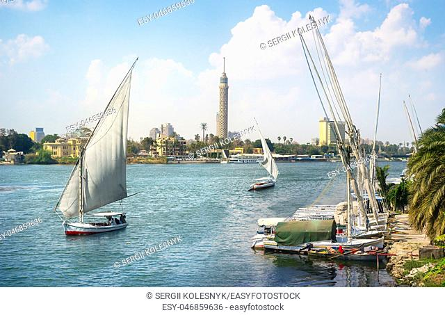 Nile and Cairo panorama by day. Egypt