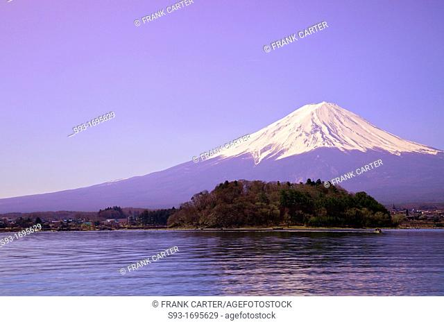 A view of Mt  Fuji in front of Lake Kawaguchiko