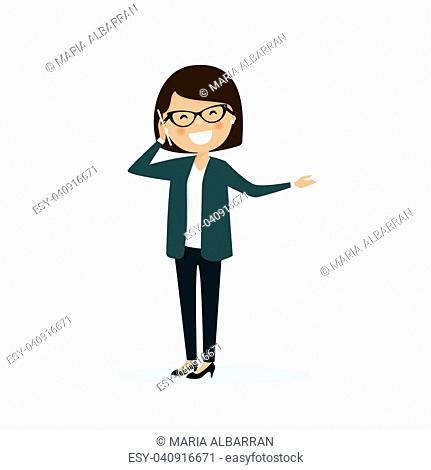 Business woman talking on the phone at the work. Vector illustration
