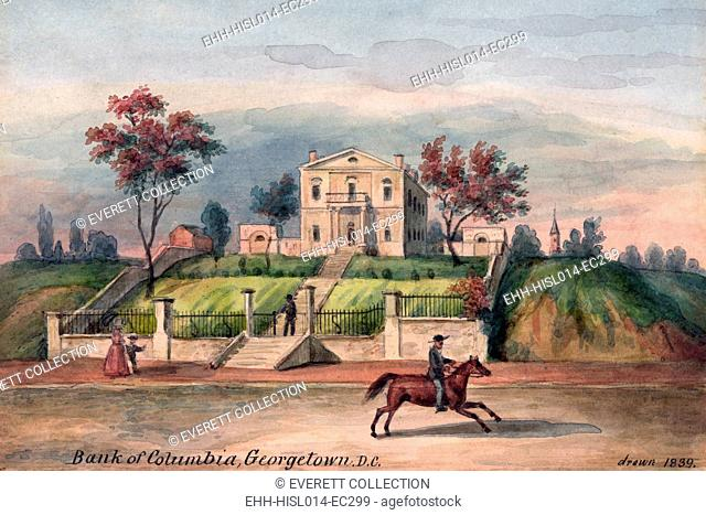 Washington, DC. Bank of Columbia, Georgetown. Watercolor by Augustus Kollner. 1839