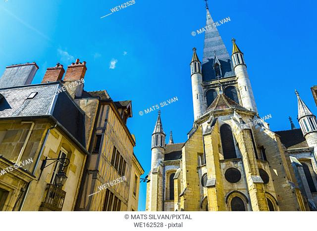 Cathedral in Dijon in a Sunny Day in France