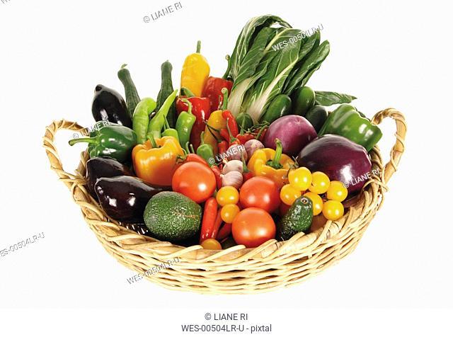 Variety of vegetables in basket, elevated view