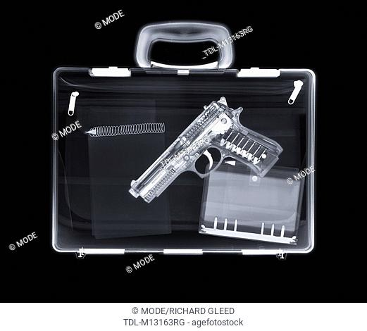 X-ray of a bag containing a gun, filofax and notepad