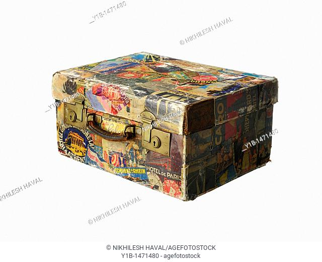 Vintage suitcase old travel stickers retro