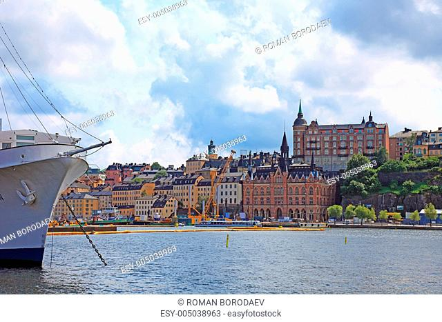 Ship and cityscape of Stockholm
