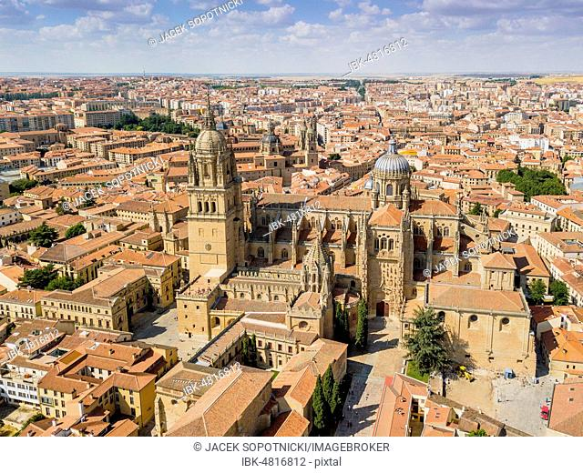 Drone image of Salamanca with new and old cathedral, Spain