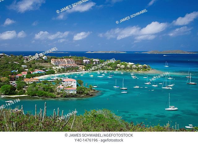 Cruz Bay harbor on the caribbean island of St John in the US Virgin Islands