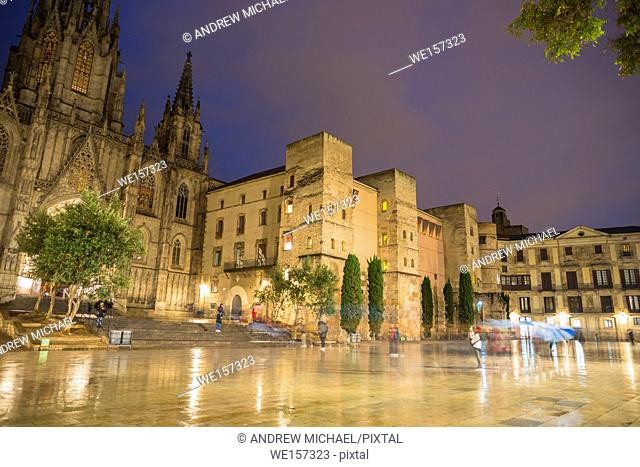 Placa de la Seu square in front of the cathedral at night. Barcelona, Spain