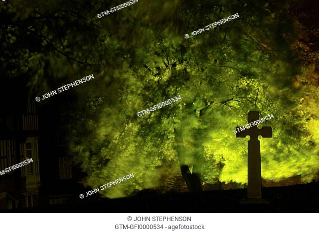 Eerie light through trees with a stone cross in the foregound