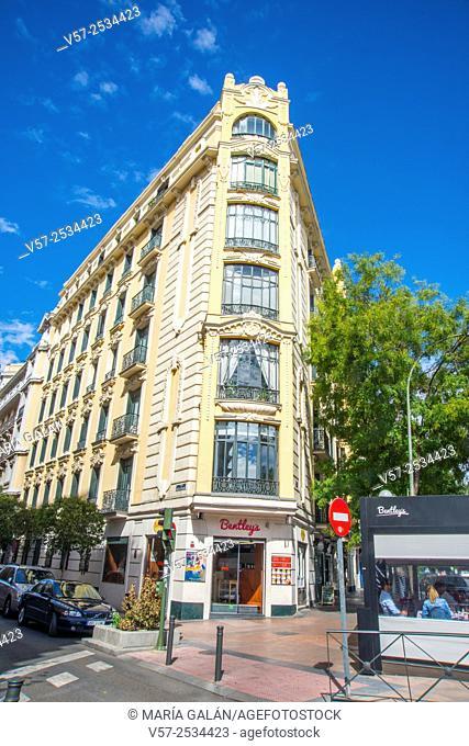 Facade of building. Alcala street corner to Nuñez de Balboa street, Madrid, Spain
